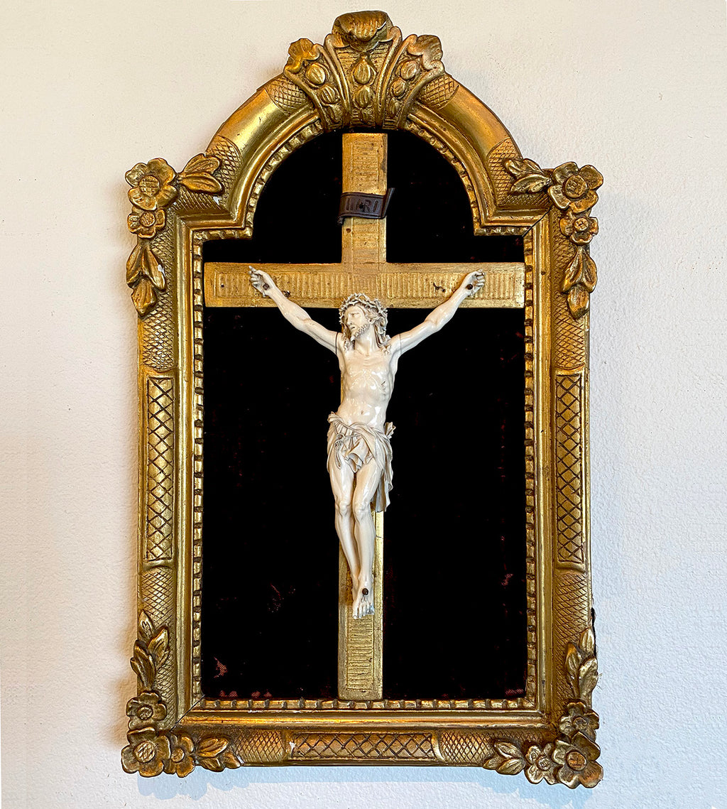 "RARE! Fine 8.5"" Hand Carved Ivory Christ on Crucifix, Original 19"" x 12"" Frame, c.1750-80s, Dieppe"