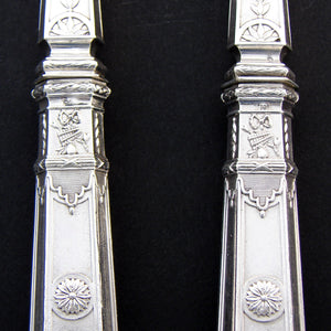 "Antique French Sterling Silver 11"" Salad Serving Pair, Empire Musical Instrument Pattern"