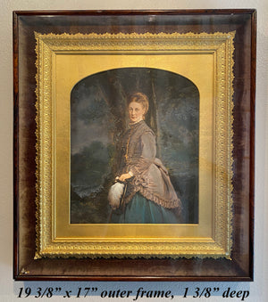 Antique French Portrait Watercolor, c.1880s, in Shadow Box Frame, Clothing and Jewelry