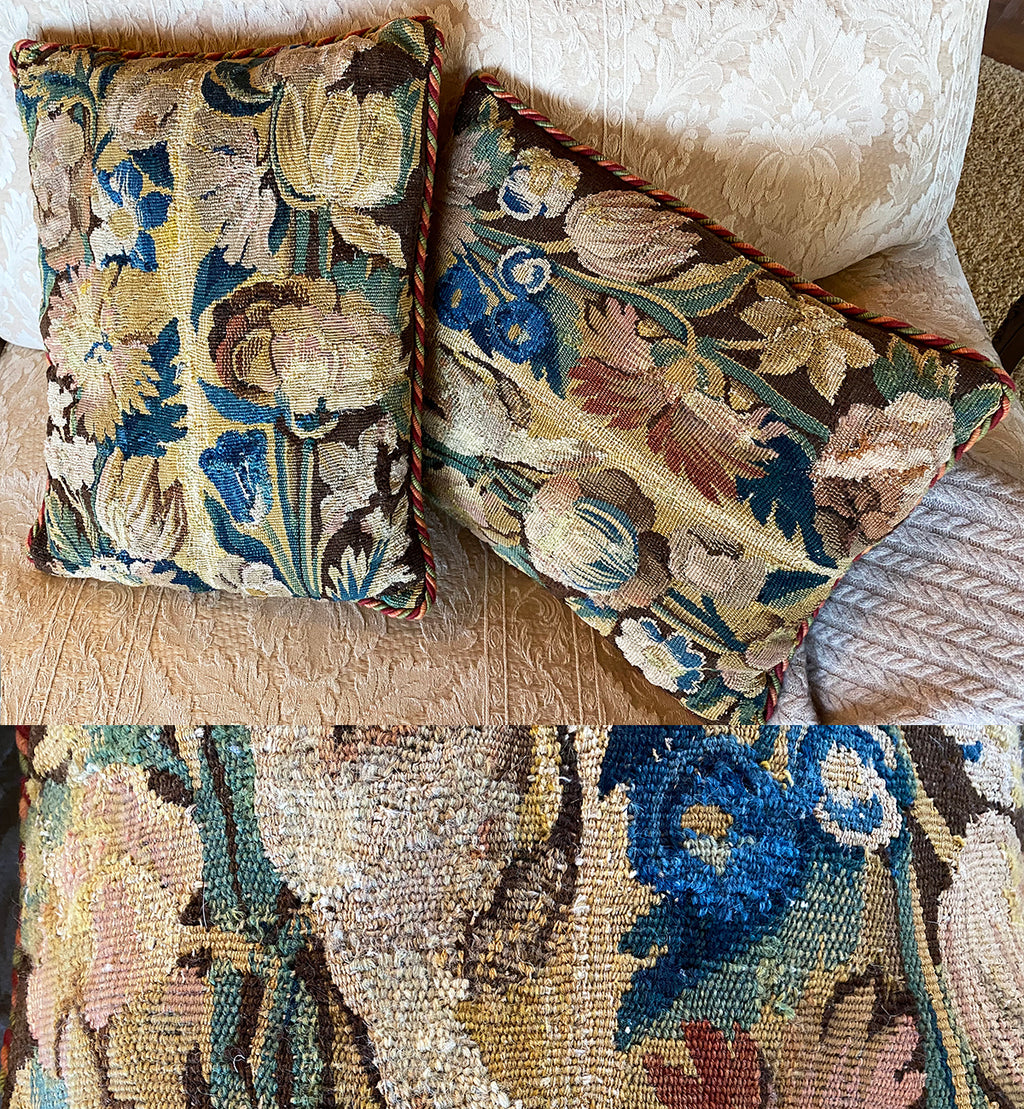 Two Fine Antique Flemish Verdure Tapestry Panels, c.1650-1750, Now Opulent Throw Pillow Pair
