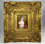 Fine Antique UK Portrait Miniature, Tiara Empire era, ID'd, Lady Hill, (b 1779) Elaborate Original Frame