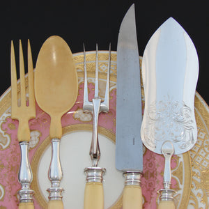 Antique French Sterling Silver 5pc Serving Implement Set: Meat, Salad & Fish Service, Pelle or Truelle a' Poisson