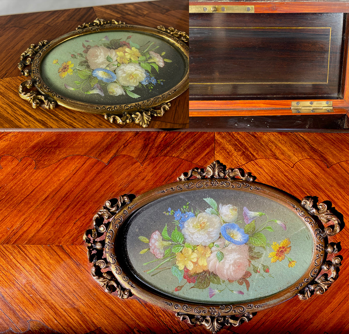 Antique French Table Box, TAHAN of Paris, Miniature Painting, Floral Bouquet, Kingwood, Napoleon III c.1850s