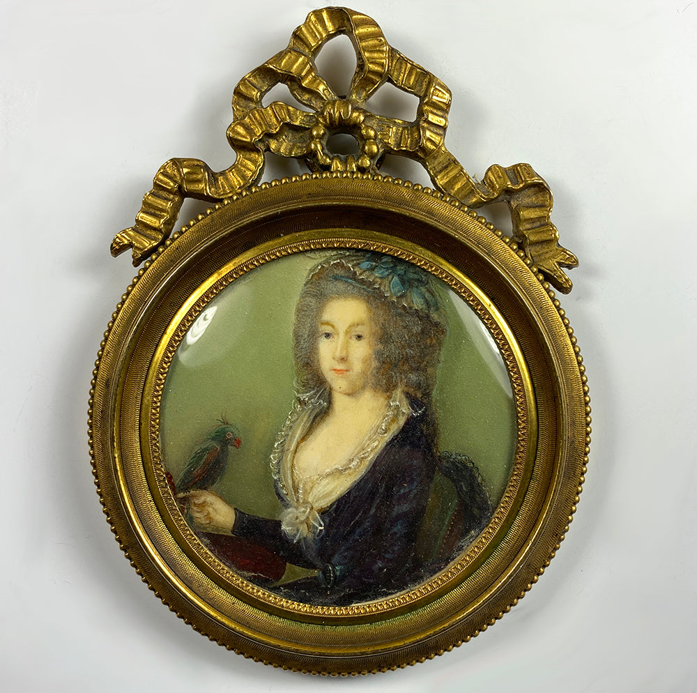 RARE c.1700s French Portrait Miniature in Wax Sealed Bow Top Frame, Woman with Parrot