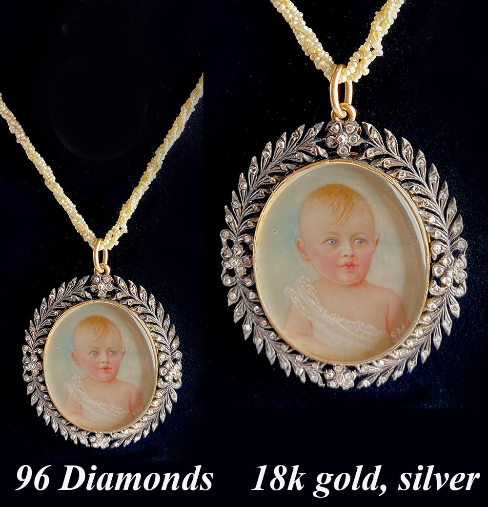 Antique Early to mid-1800s Portrait Miniature, a Baby, in French 18k Gold and Silver Pendant set w 96 Diamonds