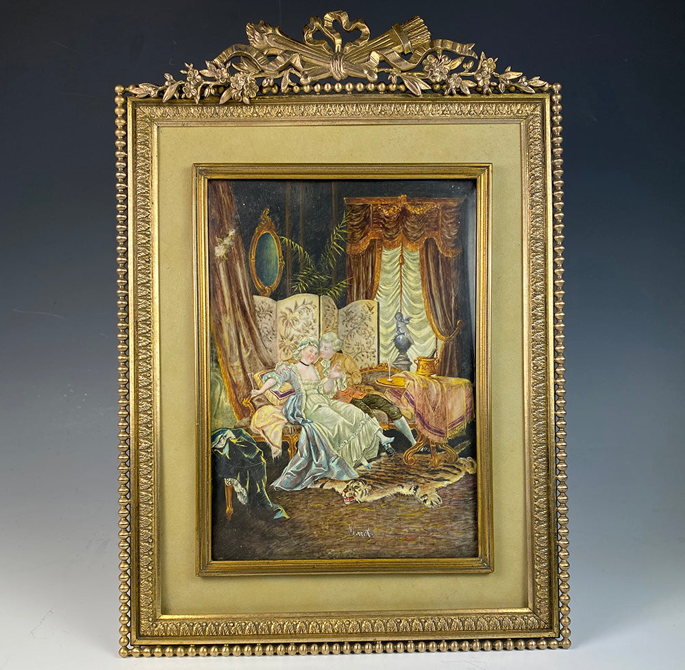 Antique French Miniature Painting, Interior Romantic Seduction w Tiger Skin Rug, Dore Bronze Torch and Bow Top Frame