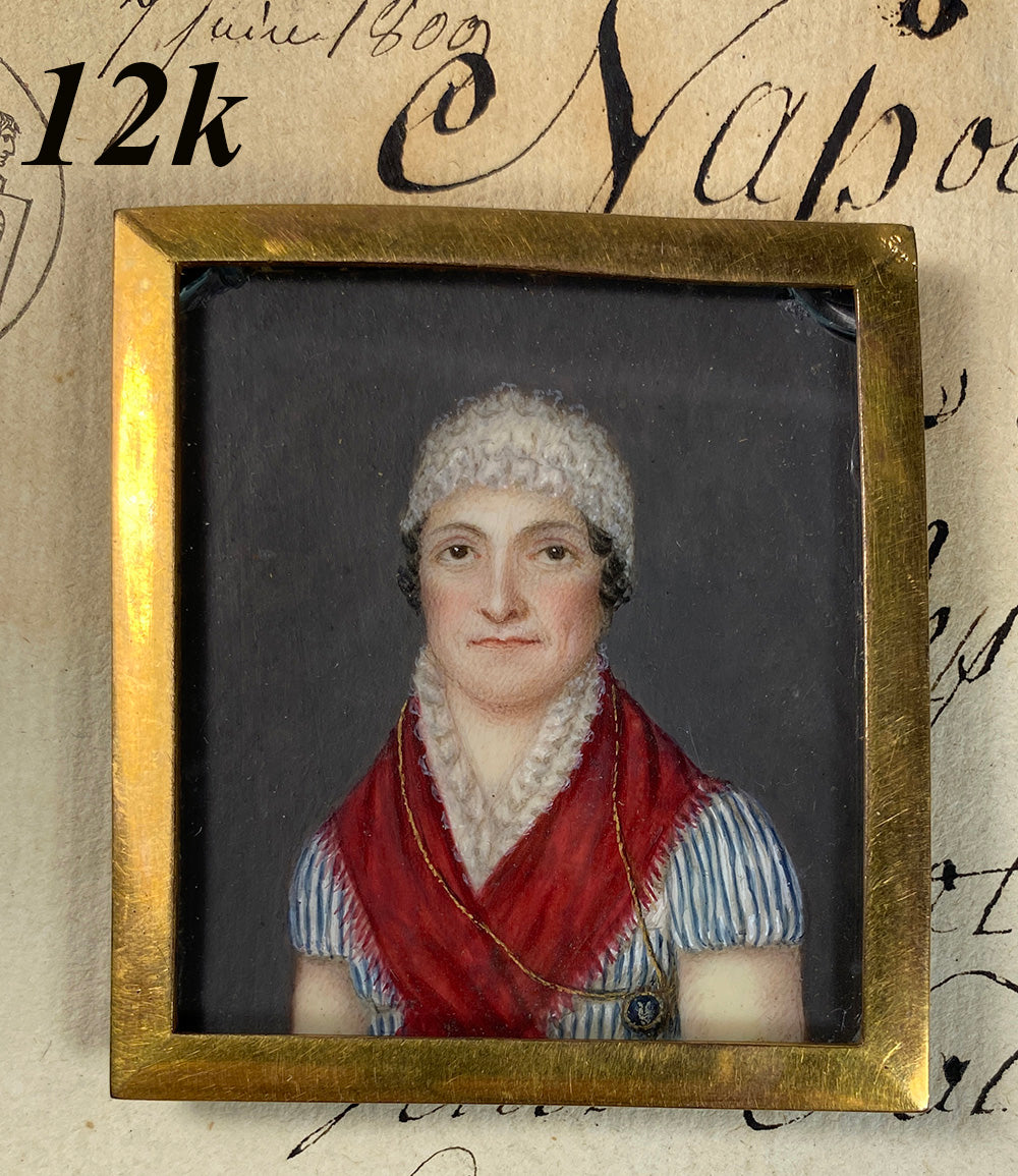Antique French Portrait Miniature in 12k gold Frame, Woman with Red Shawl of Royalist Support, late 1700s