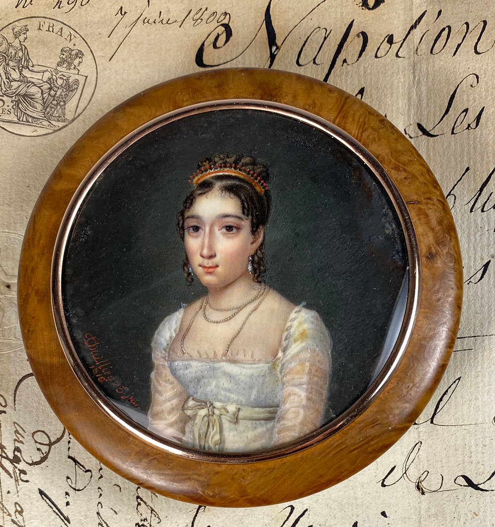Stunning Antique French Portrait Miniature Snuff Box, Red Coral Tiara, Young Beauty, French Empire c.1815