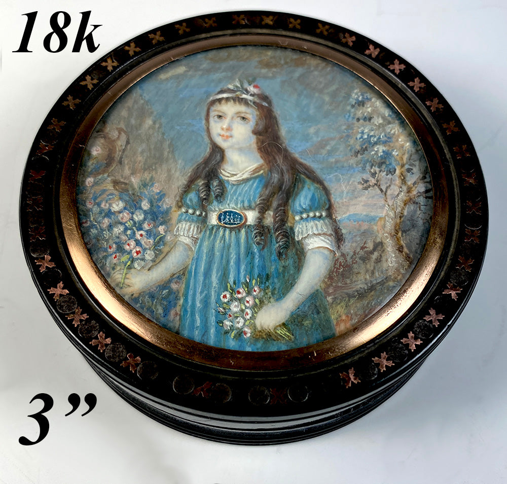 Antique c.1795 Signed Portrait Miniature Snuff Box, Pretty French 7 yr Old Girl, 18k Pique
