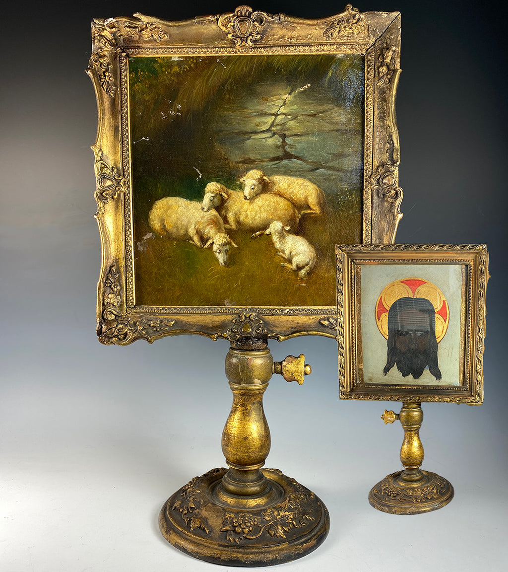 Rare Antique French Alter Painting, Lambs, Backside is Dark Jesus, Alter Stand c.1840s