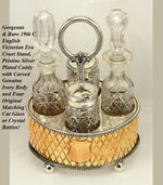 Rare Antique English Victorian Era Cruet Set, Cut Crystal Bottles & Carved Ivory Body