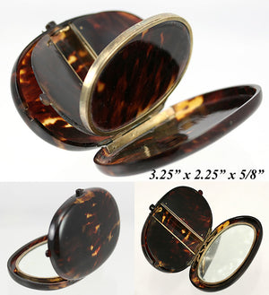 RARE Antique French Minaudiére or Compact, Sterling Silver & Tortoise Shell - Oval Tortoiseshell