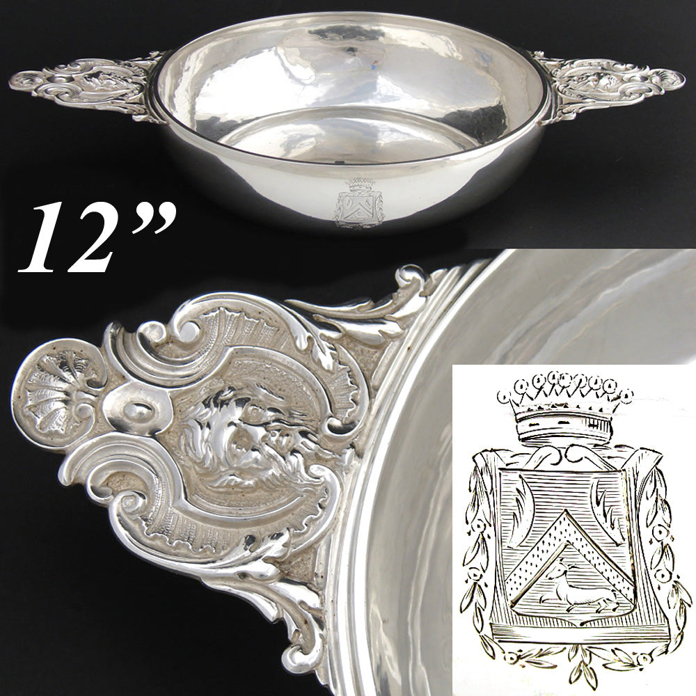 Antique French Sterling Silver Legumier, Ecuelle, Serving Dish, Armorial Crown & Mascaron