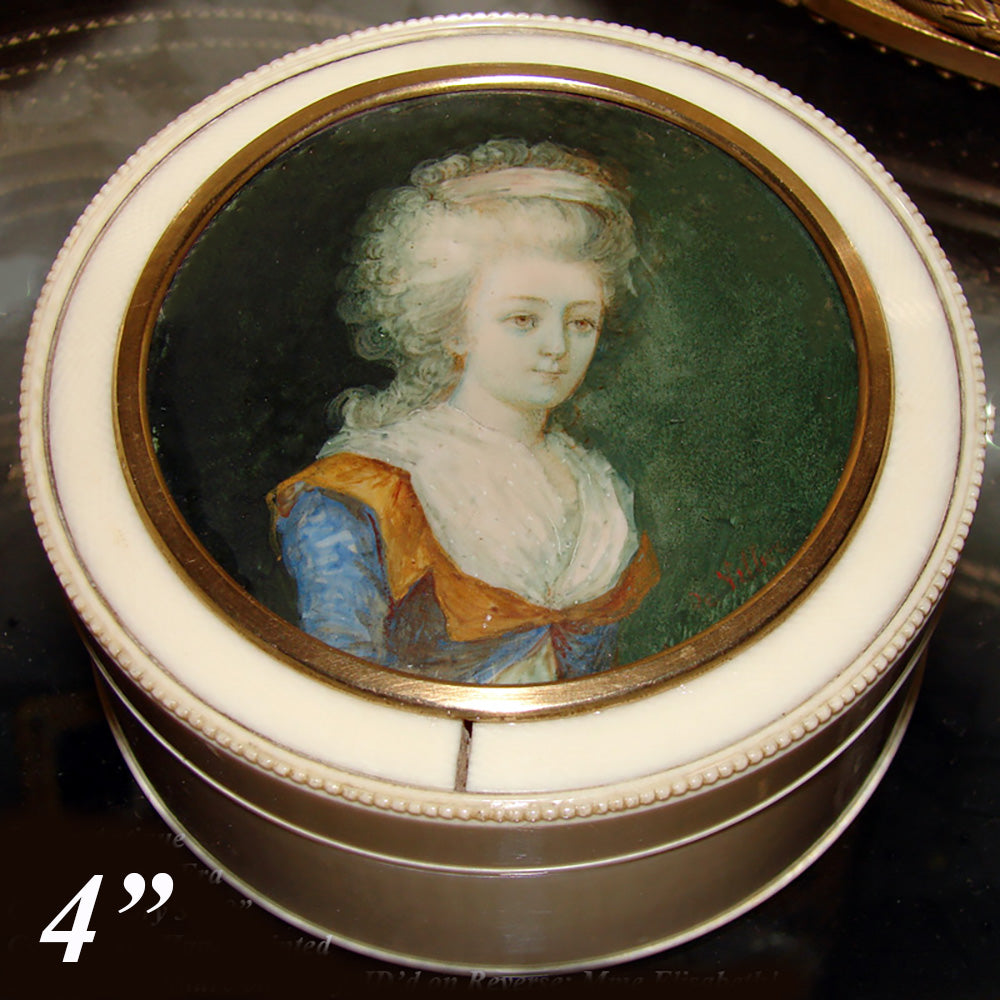 "BIG Antique French Powder Jar, Snuff Box, 4"" Ivory Casket w Portrait Miniature of Miss Elizabeth"