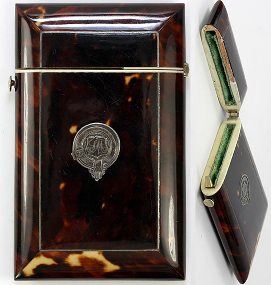 Antique Napoleon III (Victorian Era) French Tortoise Shell Calling Card Case, Tortoiseshell