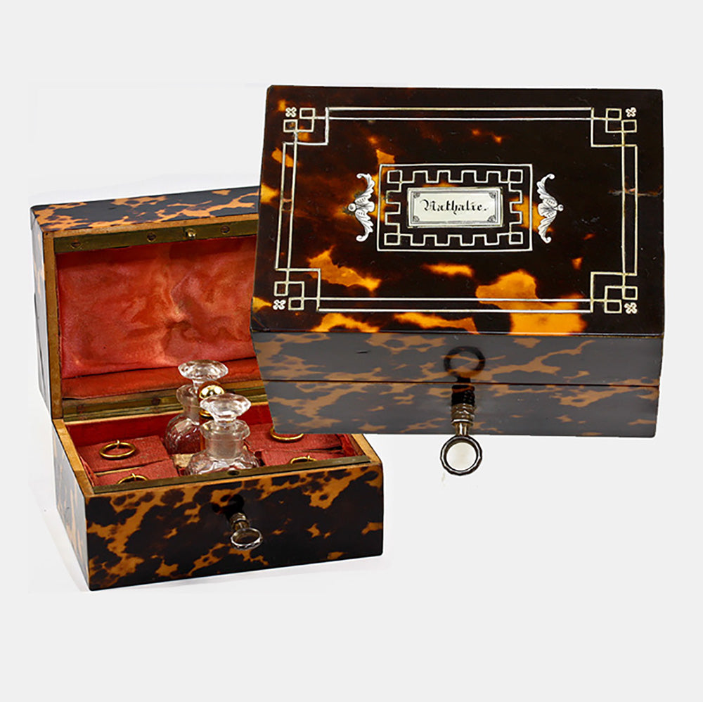 Antique Tortoise Shell Caddy with Scent, Perfume Bottles, c.1840s French, MOP Inlays and Original Key