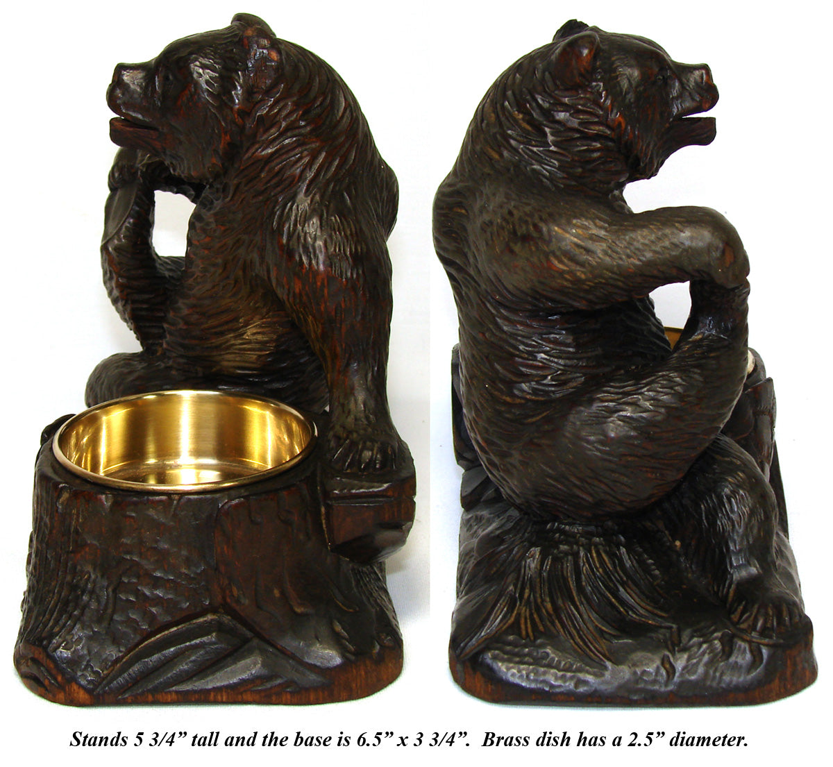 "Antique HC Wood Black Forest Bear, Smoker's Stand or Open Table Salt, 6.5"" Tall"