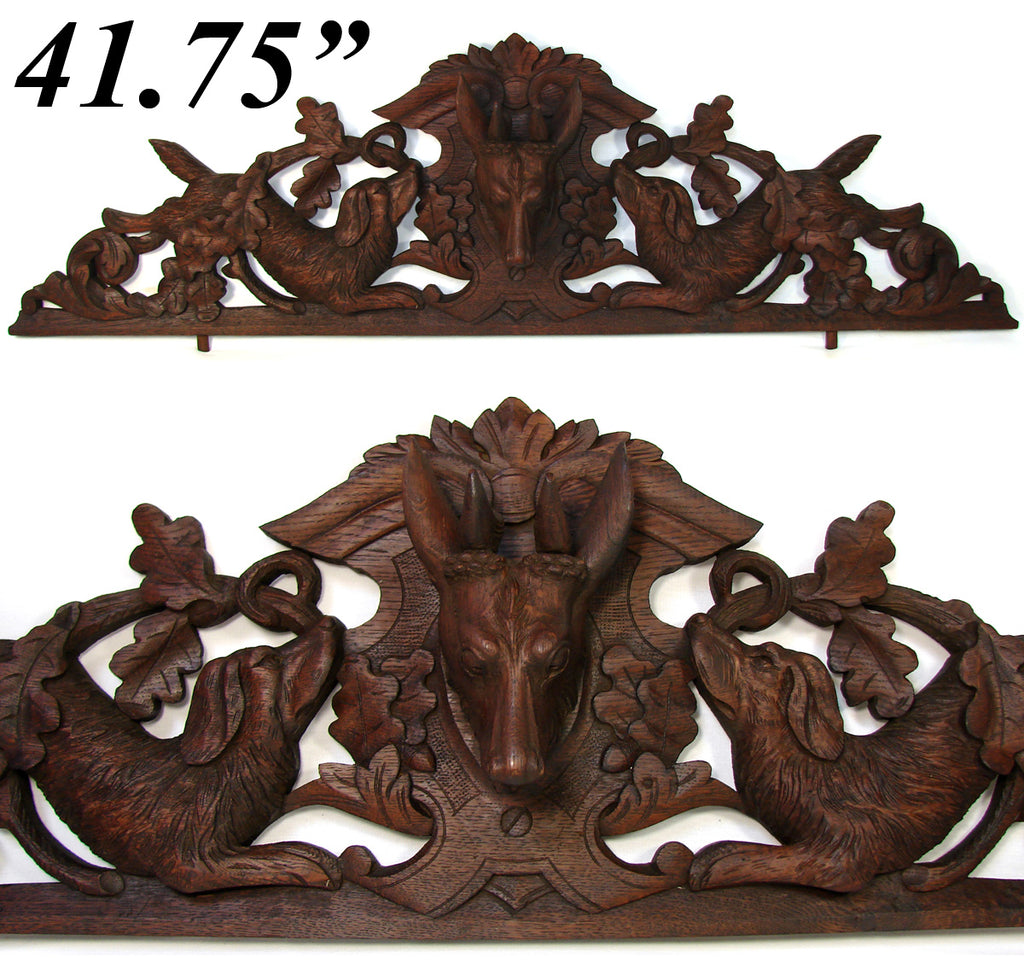 "Antique Black Forest Carved 42"" Furniture or Architectural Cornice, Salvage, Dog or Hounds & Deer"