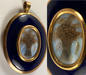 Antique Georgian to Victorian Large Hair Art Mourning Pendant, Locket, Seed Pearls