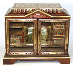 RARE Antique French Boulle Inlay Jewelry Chest, Curiosity or Specimen Cabinet, Opulent with Drawers & Royal Crown Inlay