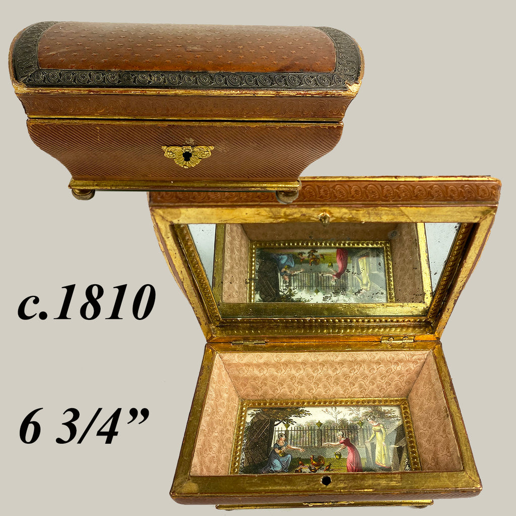 RARE Large c.1770-1810 French Louis XVI Chocolatier's Confection or Chocolates Box, Eglomise Jewelry Casket