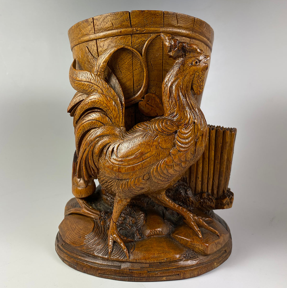 Large Antique Black Forest Rooster Cigar or Pipe, Smoker's Stand, Match Holder