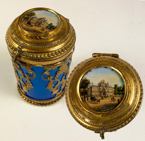 Charming Early 1800s French Opaline and Ormolu Box, Eglomise Grand Tour Souvenir, Paris