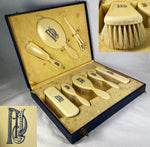Antique Faux Ivory Vanity Set, French Ivory, 8 Pieces in Original Presentation Box, Art Deco, Edwardian