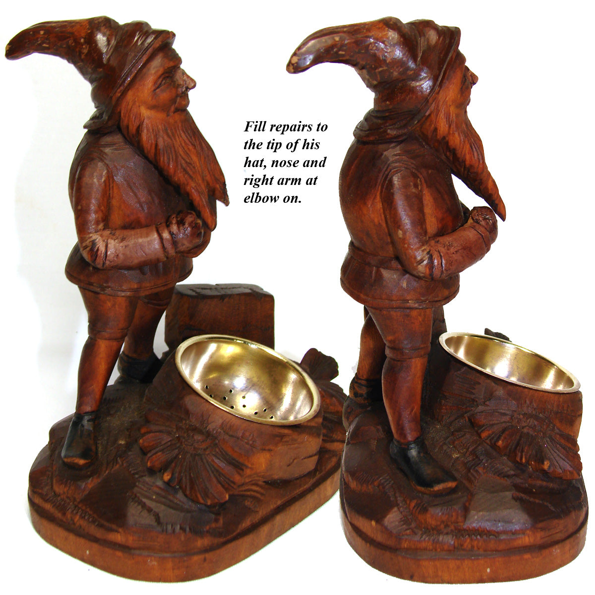 Charming Antique Black Forest Carved Smoker's Stand, Ashtray, Match Holder Gnome
