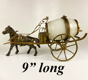 "Antique French Opaline Barrel & Cups, Horse Drawn Carriage 9+"" Long, Palais Royal"