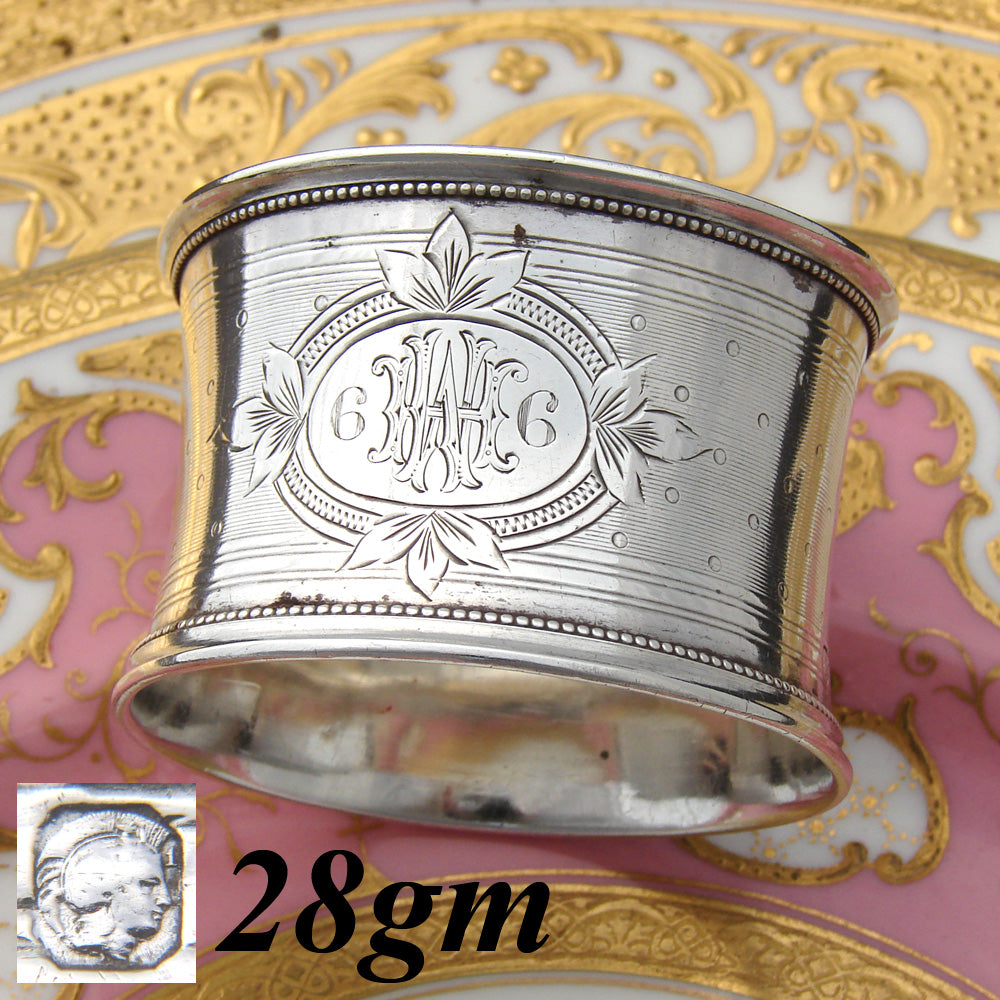 "Antique French Sterling Silver 2"" Napkin Ring, Guilloche Decoration, HW or MH Monogram"