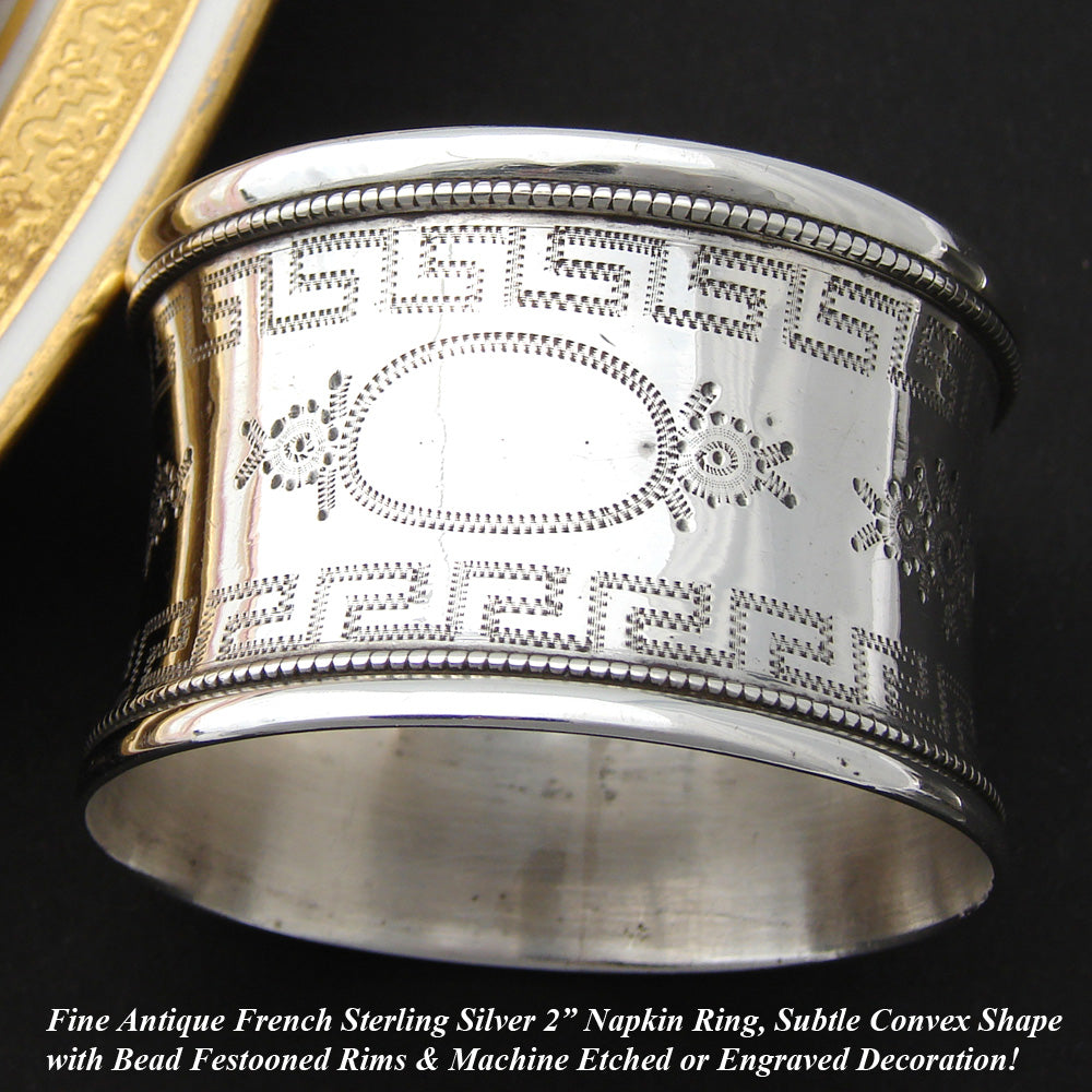"Antique French Sterling Silver 2"" Napkin Ring, Convex Shape, Engraved"