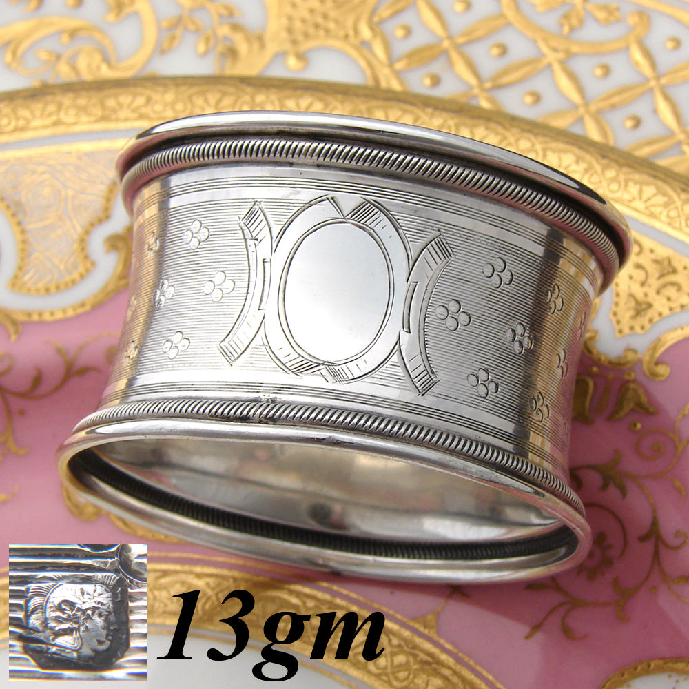 "Antique French Sterling Silver 2"" Napkin Ring, Guilloche Style, Convex Shape"