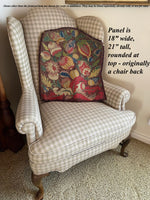Antique French Needlepoint Chair Back Panel for Bench or Throw Pillow Project, BIG