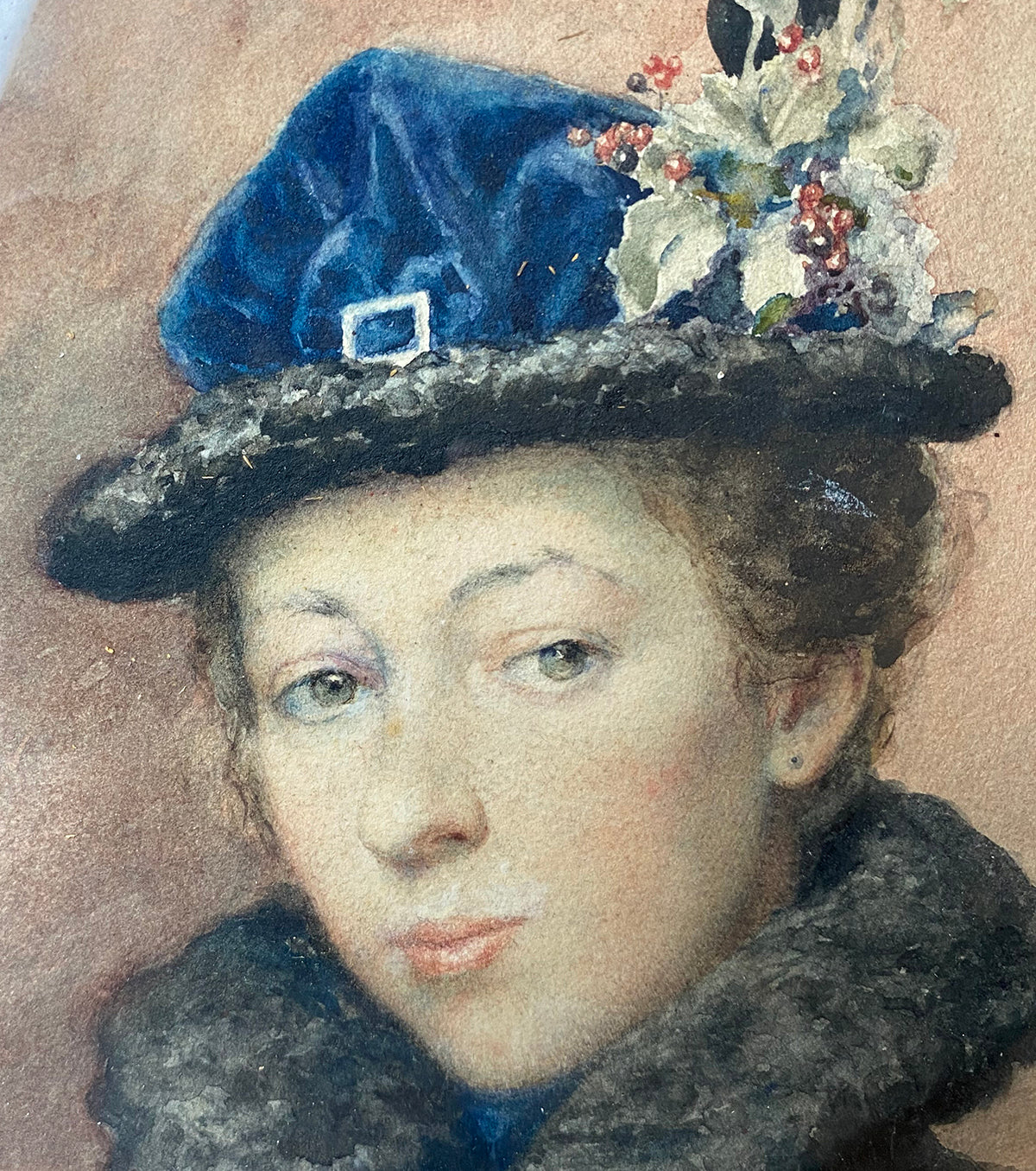 Superb c.1926 Portrait of a Bride, French Impressionist, Gustave Frédéric Chanet (1862-1938) Hat and Fur, Beautiful in Original Wood Frame