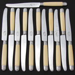 Elegant Antique French 12pc Dinner Knife Set, Genuine Ivory & Silver Handles