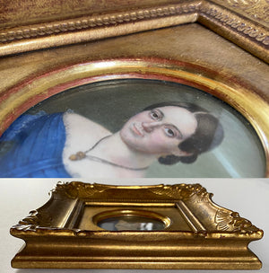 Antique French Portrait Miniature in Gild Wood Frame, Beautiful Young Woman with Jewelry