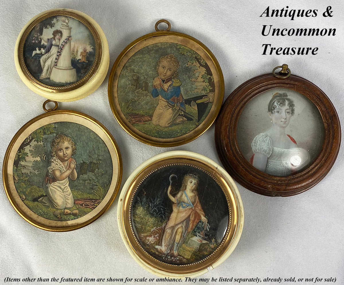 "Antique Pair, Napoleon's Son, Hand Painted Intaglio Prints in 3"" Round Frame, Miniature Portrait"