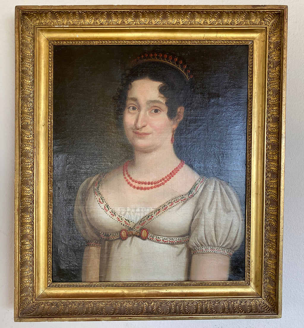 Antique French Empire Oil Painting, Portrait of Woman with Red Coral Palais Royal Jewelry, Tiara