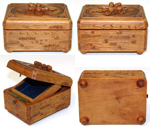 Antique Black Forest Carved Pocket Watch Display Box, Casket, Oak Leaves & Acorns