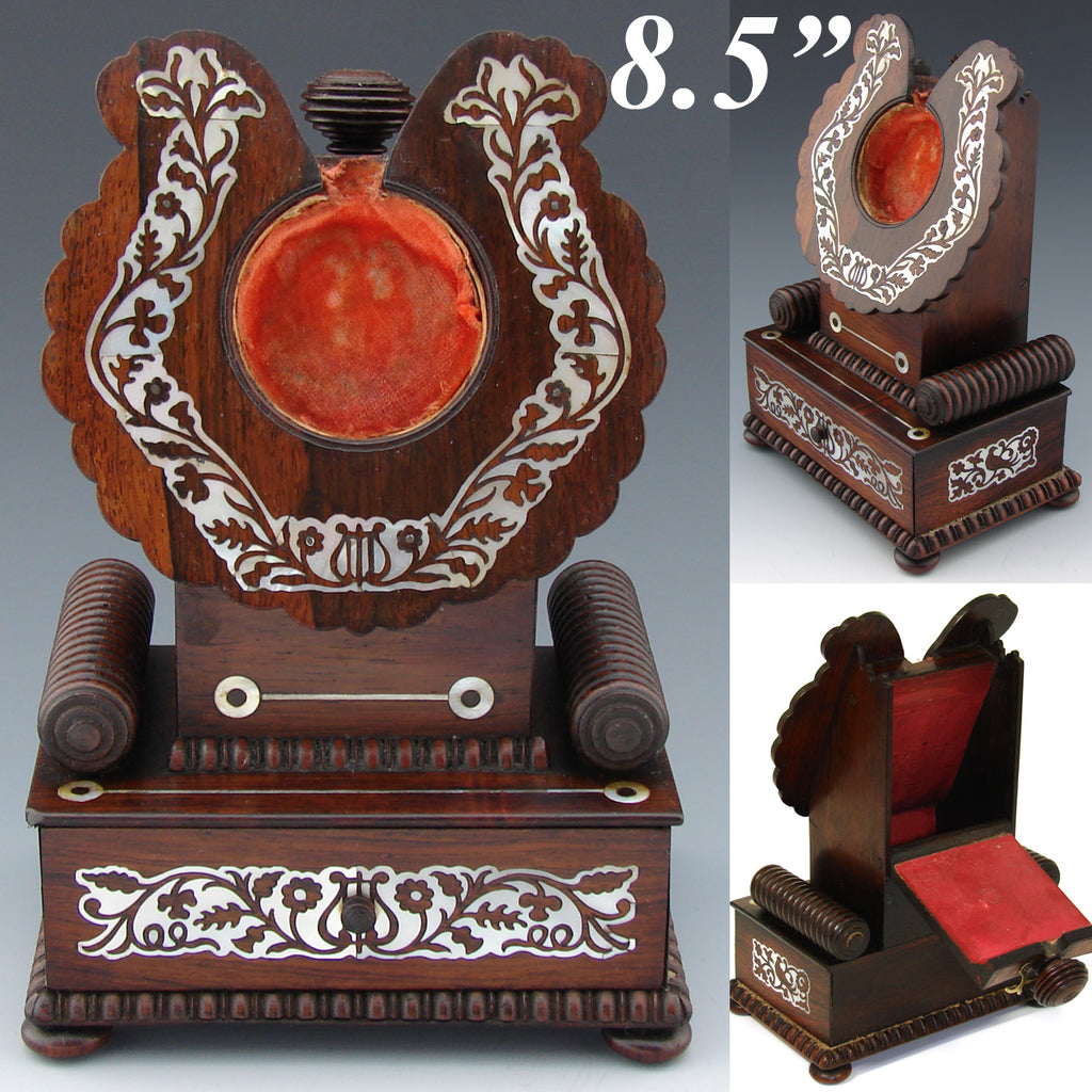 "Antique Victorian Era 8.5"" Pocket Watch Display Stand, Rosewood with Mother of Pearl Inlay"