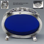 Antique French Sterling Silver & Cobalt Glass Master Open Salt, Winged Cherubs, Putti