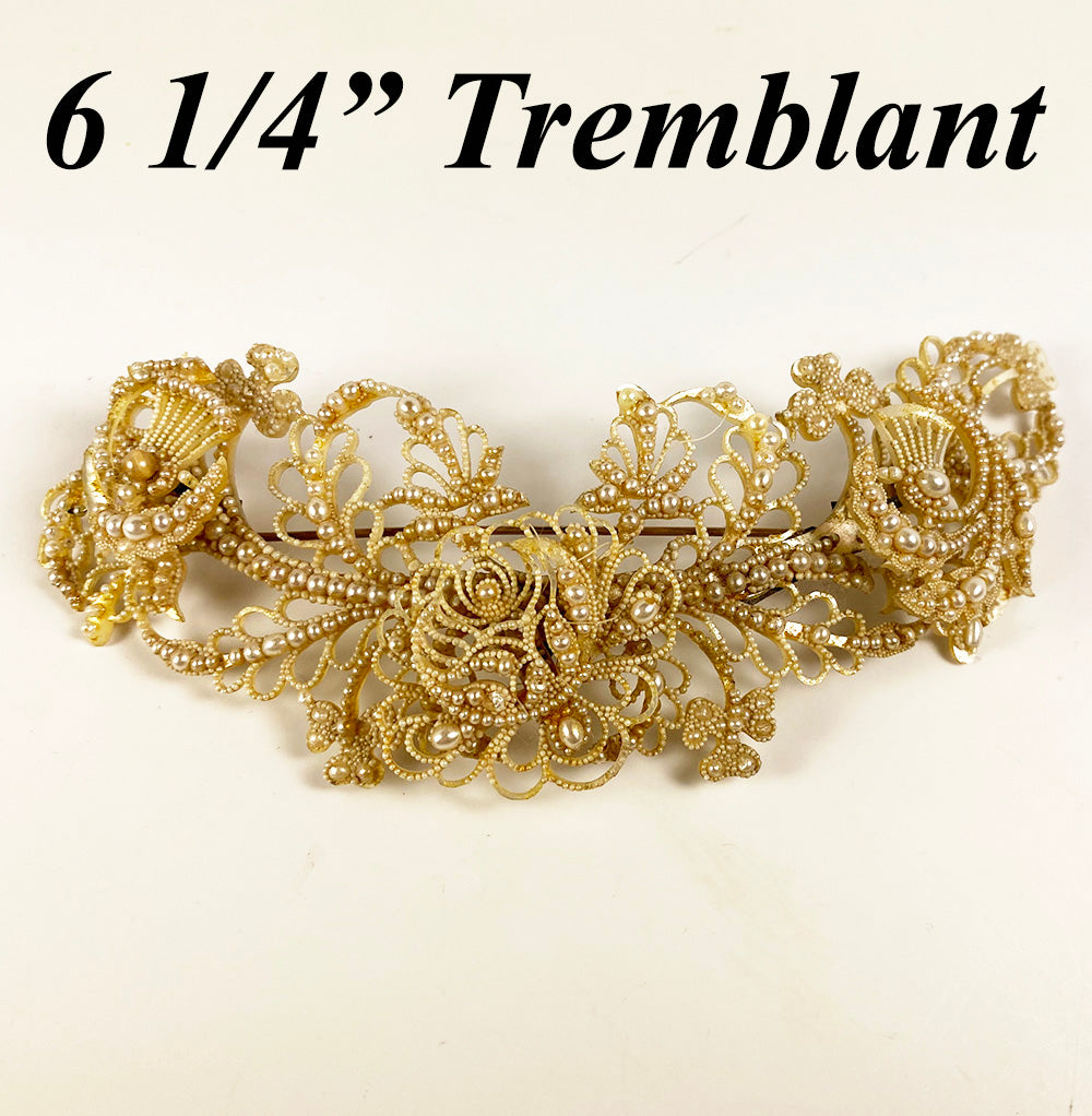 "RARE 6.5"" Long Georgian Seed Pearl Tremblant Brooch, Bodicer, Hair Ornament - Museum"