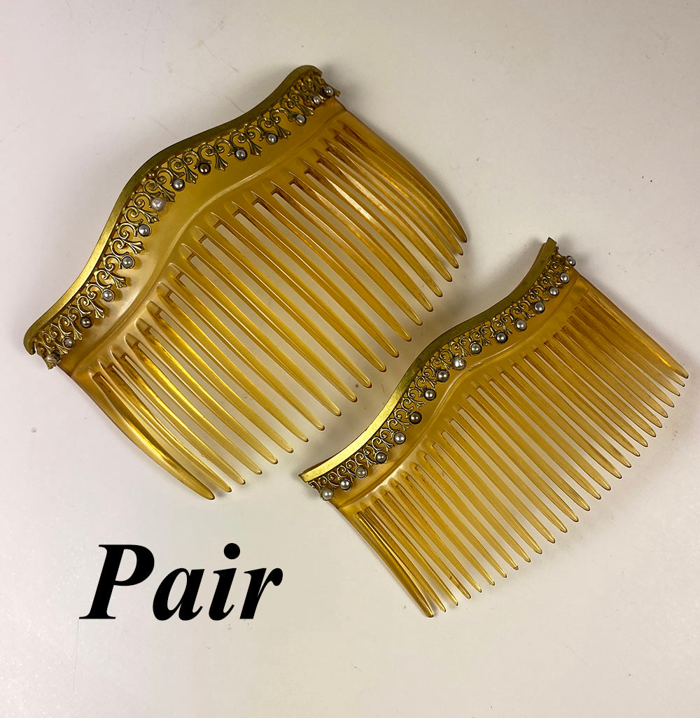 Pair (2) Antique French Napoleon III (Victorian) Blond Tortoise Shell Hair Combs, Seed Pearls, Excellent