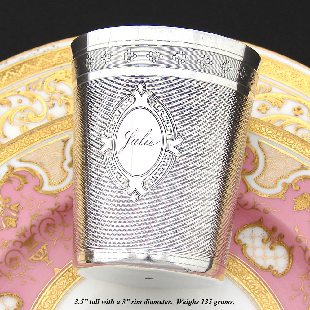 "Antique French Sterling Silver Wine or Mint Julep Cup, Guilloche Style, ""Julie"" Inscription"