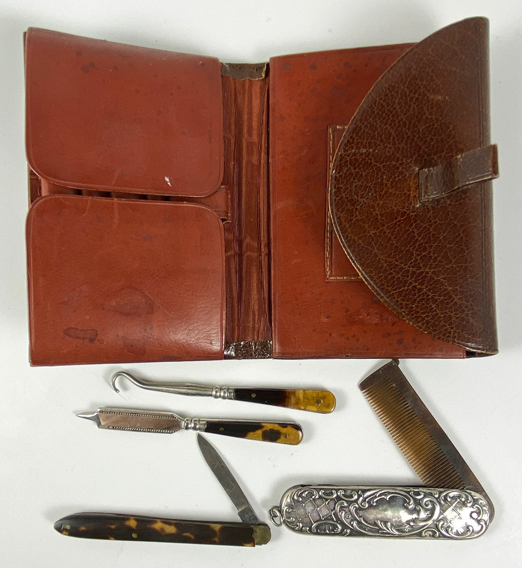 Antique Edwardian Era Wallet has Mustache Comb, Pocket Knife, Vanity, Tortoise Shell Handles