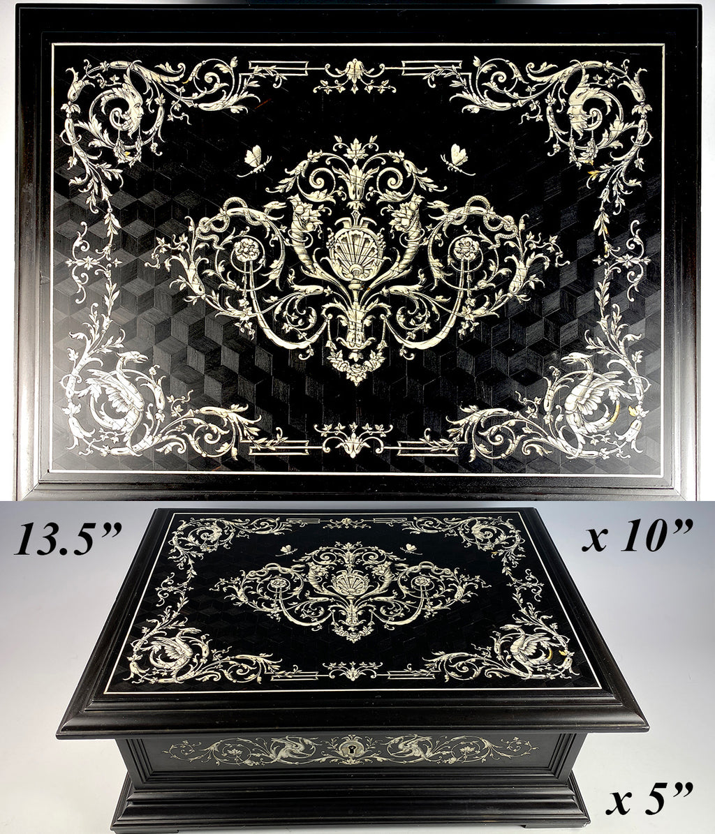 "RARE Antique 13.5"" x 10"" French Jewelry or Sewing Box, Ebony, Neo-Renaissance Ivory Marquetry, Griffen, Snakes, etc."