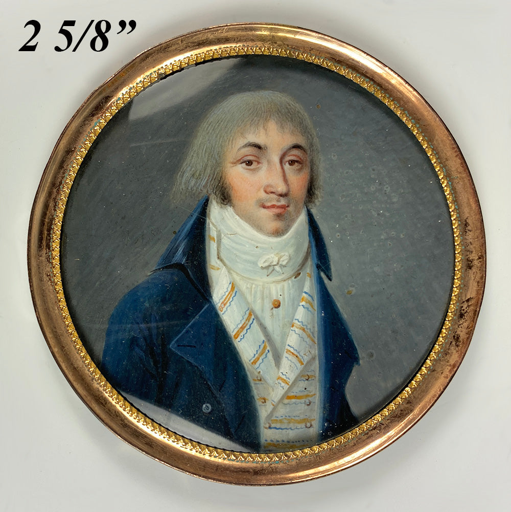 Rare Fine c.1795-99 Portrait Miniature, Incoyables Young Man, Luxuriants post French Revolution, Directoire
