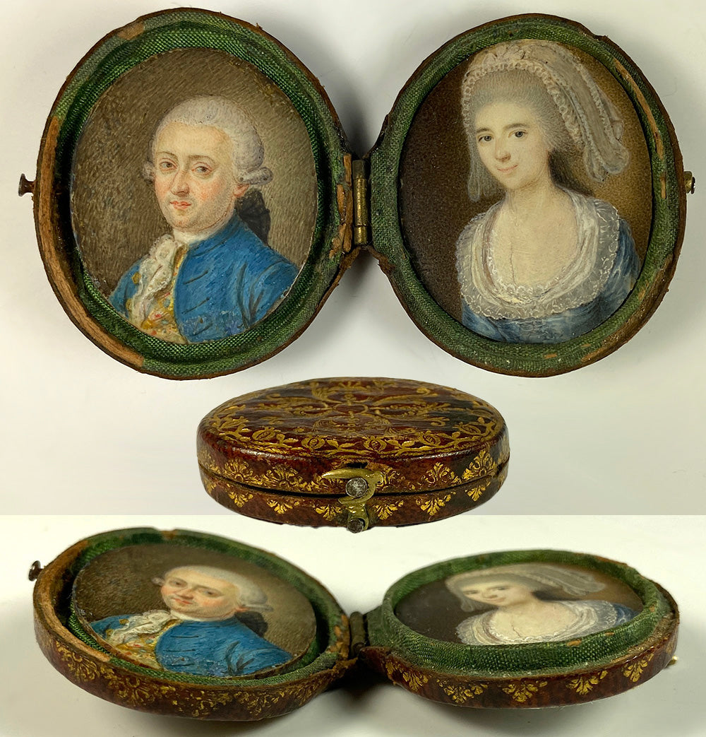 Antique French Portrait Miniature Pair, Couple, c. 1730-60s, Gold Embossed Leather Case, Etui