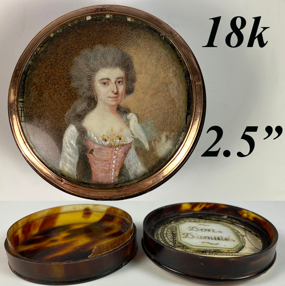 Antique French c.1750 Portrait Miniature, Woman with Parrot, Tortoise Shell Snuff Box, 18k Gold Frame